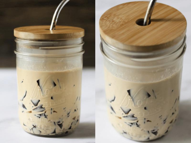 glass jar with coffee jelly beverage