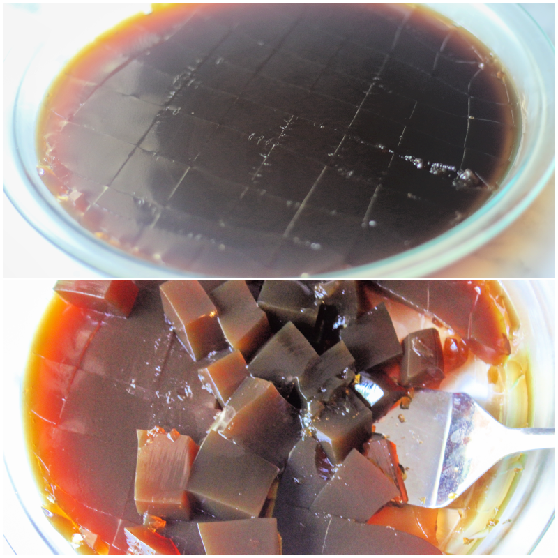 gelatin and coffee set in a glass pan