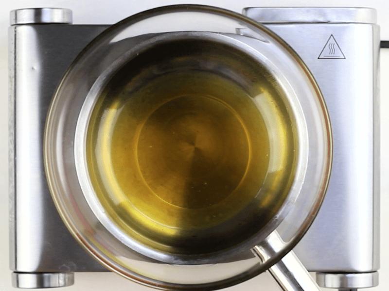 Melted oils over burner