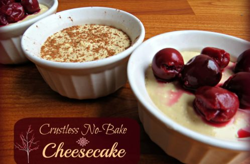 Crustless No-Bake Cheesecake from The Coconut Mama